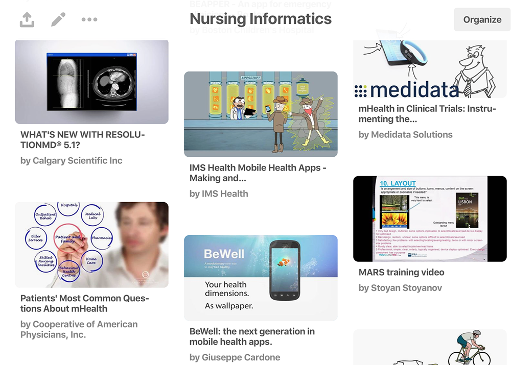 A section of my Nursing Informatics Pinterest Board